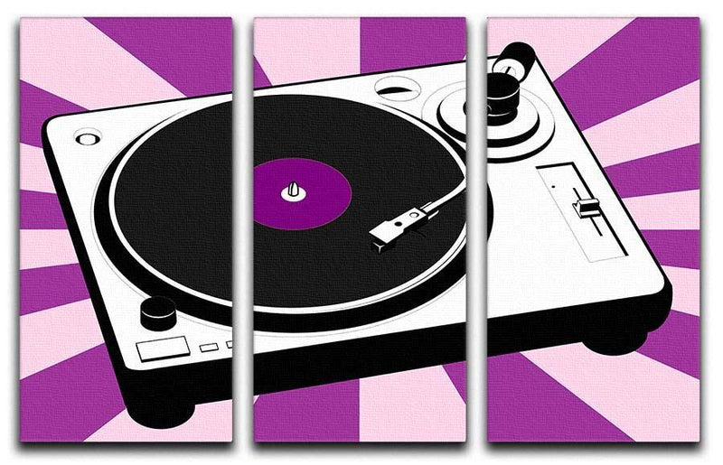 Purple Pop Art Turntable 3 Split Panel Canvas Print - Canvas Art Rocks - 1