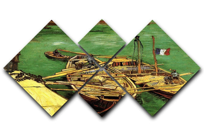 Quay with Men Unloading Sand Barges by Van Gogh 4 Square Multi Panel Canvas