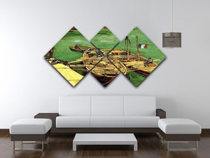 Quay with Men Unloading Sand Barges by Van Gogh 4 Square Multi Panel Canvas - Canvas Art Rocks - 3