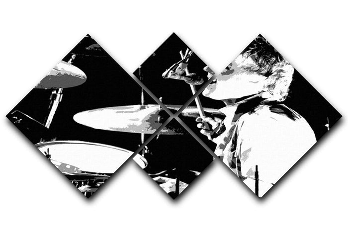 Queen Drummer Roger Taylor Pop Art 4 Square Multi Panel Canvas