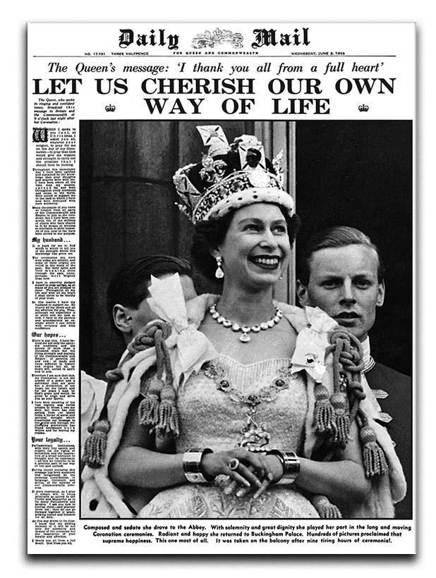 Queen Elizabeth II Coronation Daily Mail front page 3 June 1953 Canvas Print or Poster