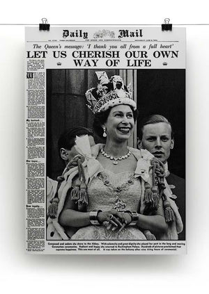 Queen Elizabeth II Coronation Daily Mail front page 3 June 1953 Canvas Print or Poster - Canvas Art Rocks - 2