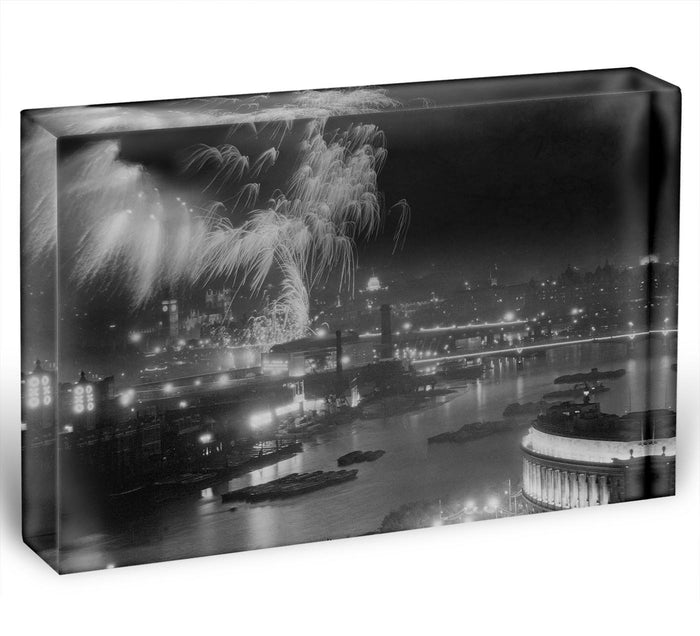 Queen Elizabeth II Coronation evening fireworks on the Thames Acrylic Block