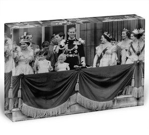 Queen Elizabeth II Coronation group appearance on balcony Acrylic Block - Canvas Art Rocks - 1