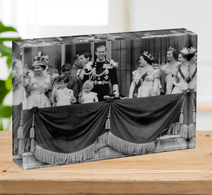 Queen Elizabeth II Coronation group appearance on balcony Acrylic Block - Canvas Art Rocks - 2