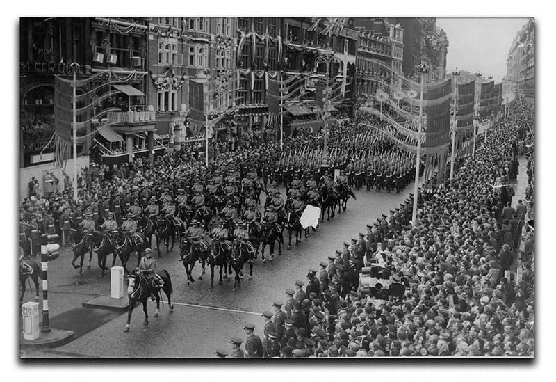 Queen Elizabeth II Coronation procession in front of Selfridges Canvas Print or Poster  - Canvas Art Rocks - 1
