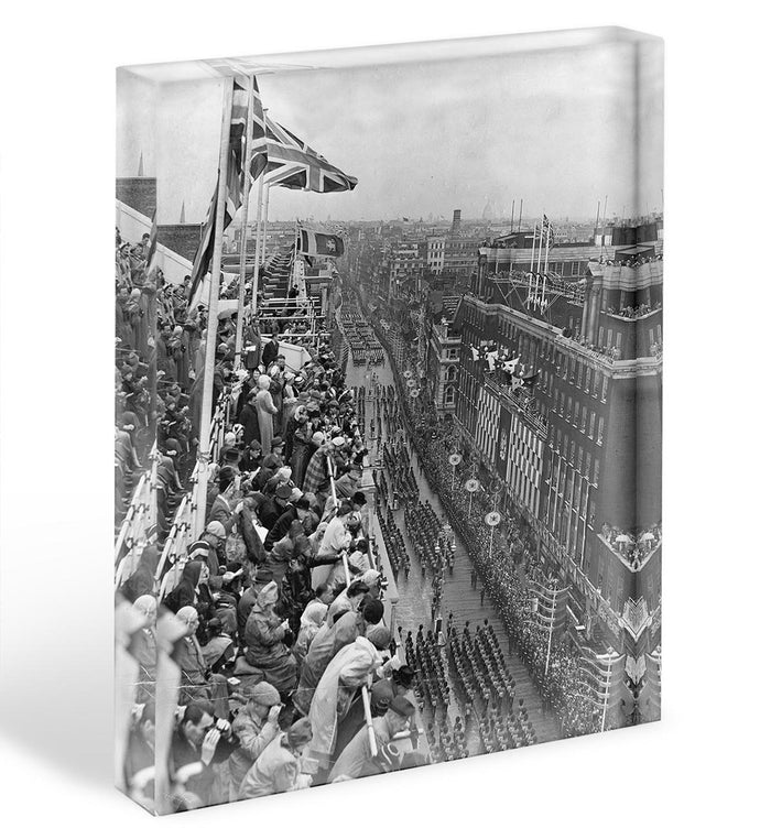 Queen Elizabeth II Coronation procession pass on Oxford Street Acrylic Block