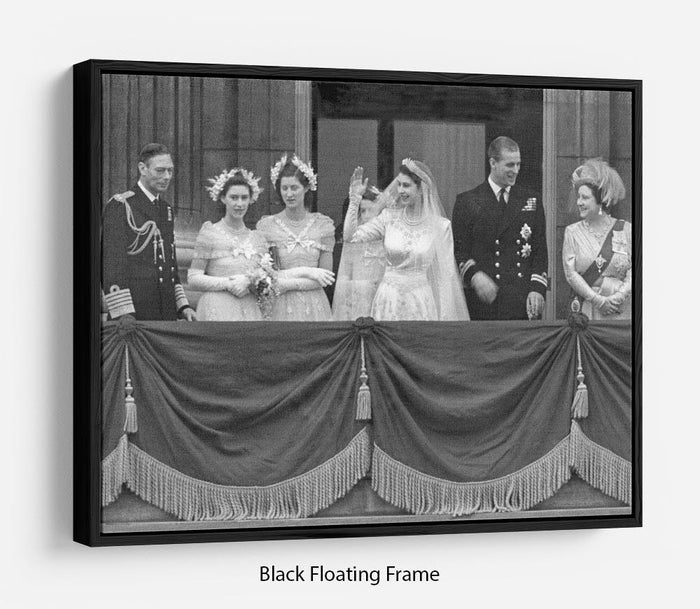 Queen Elizabeth II Wedding family group on balcony Floating Frame Canvas