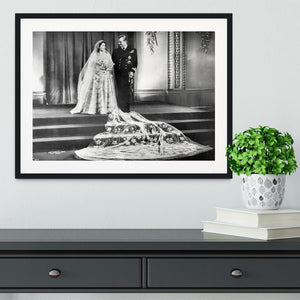 Queen Elizabeth II Wedding portrait of the couple at the palace Framed Print - Canvas Art Rocks - 1