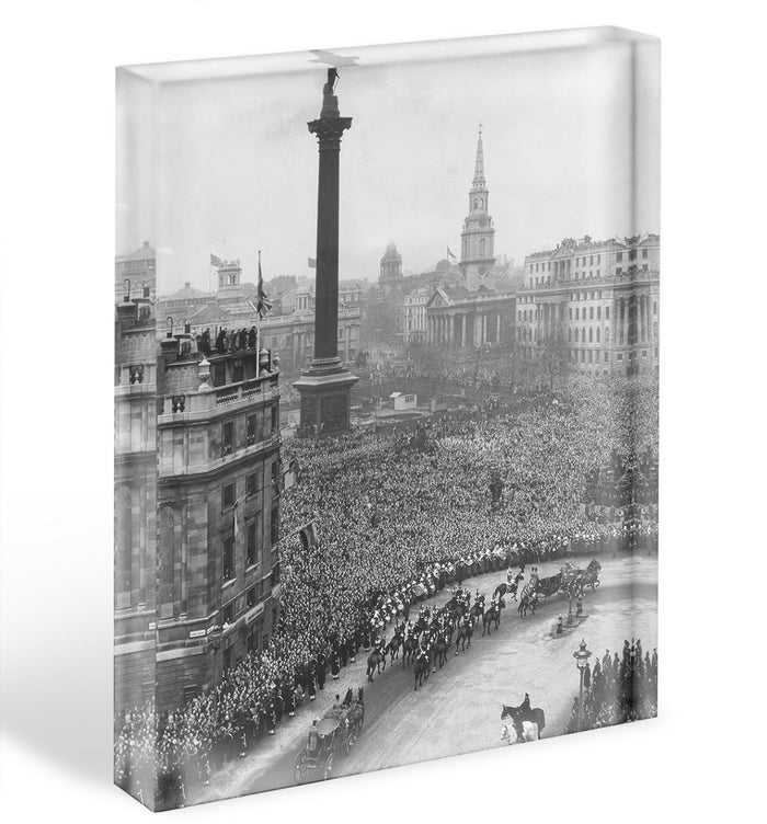 Queen Elizabeth II Wedding wedding coach in Trafalgar Square Acrylic Block