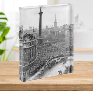 Queen Elizabeth II Wedding wedding coach in Trafalgar Square Acrylic Block - Canvas Art Rocks - 2