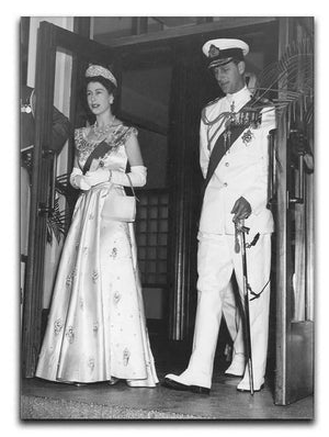 Queen Elizabeth II and Prince Philip during a tour of Nigeria Canvas Print or Poster  - Canvas Art Rocks - 1