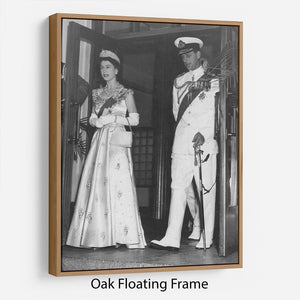 Queen Elizabeth II and Prince Philip during a tour of Nigeria Floating Frame Canvas