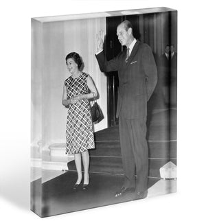 Queen Elizabeth II and Prince Philip hosting a state visit Acrylic Block - Canvas Art Rocks - 1