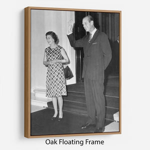 Queen Elizabeth II and Prince Philip hosting a state visit Floating Frame Canvas