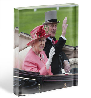 Queen Elizabeth II and Prince Philip in their carriage at Ascot Acrylic Block - Canvas Art Rocks - 1