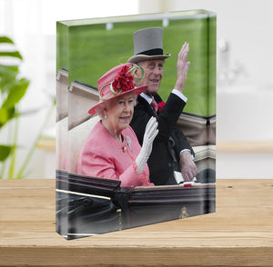 Queen Elizabeth II and Prince Philip in their carriage at Ascot Acrylic Block - Canvas Art Rocks - 2