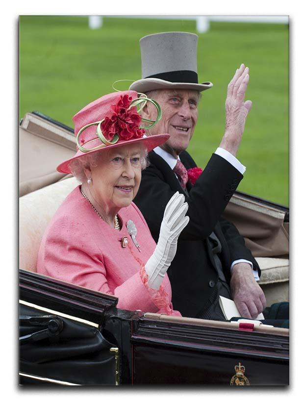 Queen Elizabeth II and Prince Philip in their carriage at Ascot Canvas Print or Poster  - Canvas Art Rocks - 1