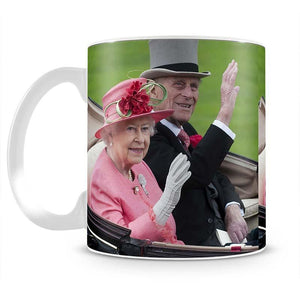 Queen Elizabeth II and Prince Philip in their carriage at Ascot Mug - Canvas Art Rocks - 2