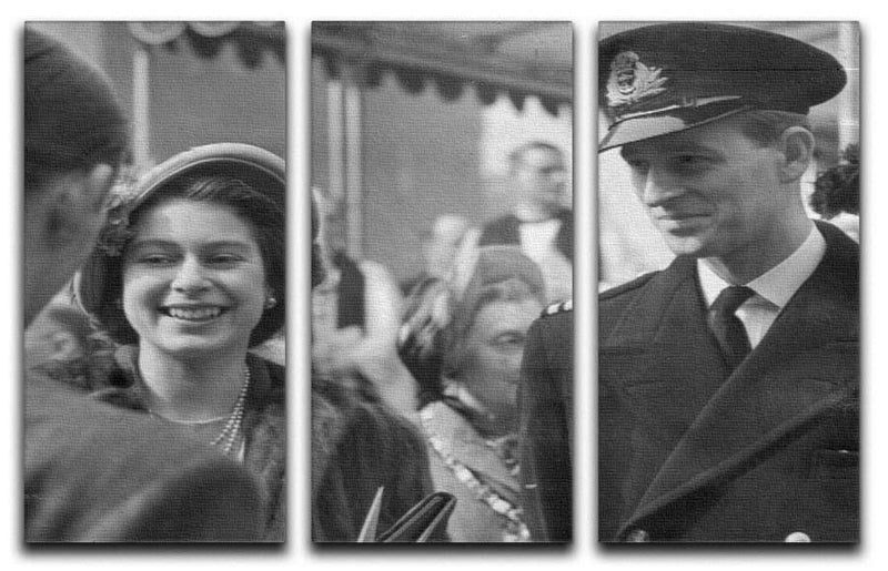Queen Elizabeth II and Prince Philip touring as young couple 3 Split Panel Canvas Print - Canvas Art Rocks - 1
