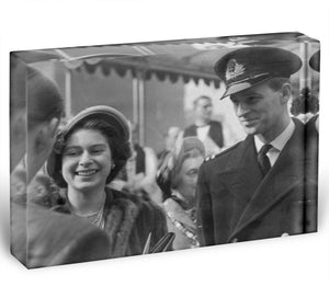 Queen Elizabeth II and Prince Philip touring as young couple Acrylic Block - Canvas Art Rocks - 1