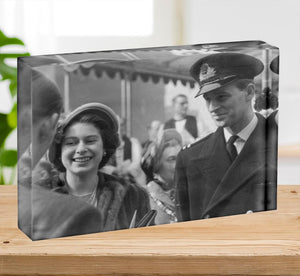 Queen Elizabeth II and Prince Philip touring as young couple Acrylic Block - Canvas Art Rocks - 2