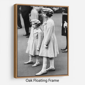 Queen Elizabeth II as a child with her sister in matched outfits Floating Frame Canvas