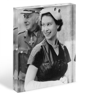 Queen Elizabeth II in Scotland shortly after her coronation Acrylic Block - Canvas Art Rocks - 1
