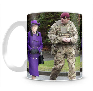 Queen Elizabeth II meeting members of the Household Cavalry Mug - Canvas Art Rocks - 2