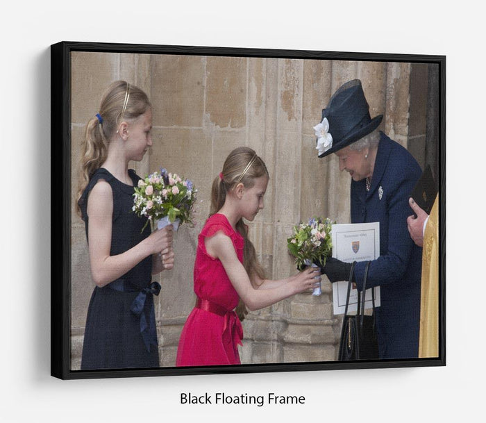 Queen Elizabeth II receiving flowers at a VE Day ceremony Floating Frame Canvas