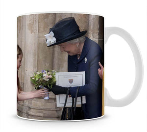 Queen Elizabeth II receiving flowers at a VE Day ceremony Mug - Canvas Art Rocks - 1