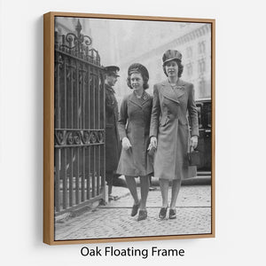 Queen Elizabeth II with Princess Margaret arriving at a wedding Floating Frame Canvas