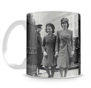 Queen Elizabeth II with Princess Margaret arriving at a wedding Mug - Canvas Art Rocks - 2
