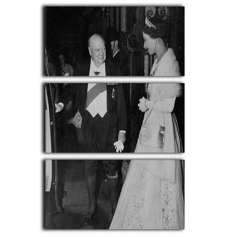 Queen Elizabeth II with Winston Churchill at Downing Street 3 Split Panel Canvas Print - Canvas Art Rocks - 1