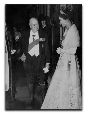 Queen Elizabeth II with Winston Churchill at Downing Street Canvas Print or Poster  - Canvas Art Rocks - 1