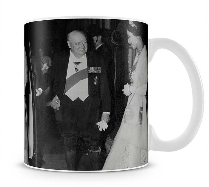 Queen Elizabeth II with Winston Churchill at Downing Street Mug