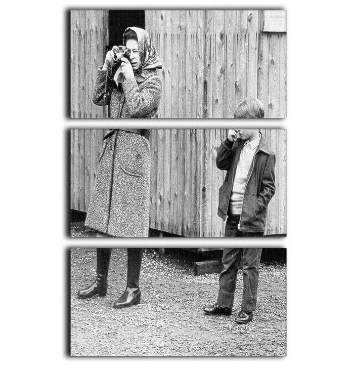 Queen Elizabeth II with a young Prince Edward 3 Split Panel Canvas Print
