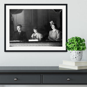 Queen Elizabeth II with her parents entranced viewing the stage Framed Print - Canvas Art Rocks - 1