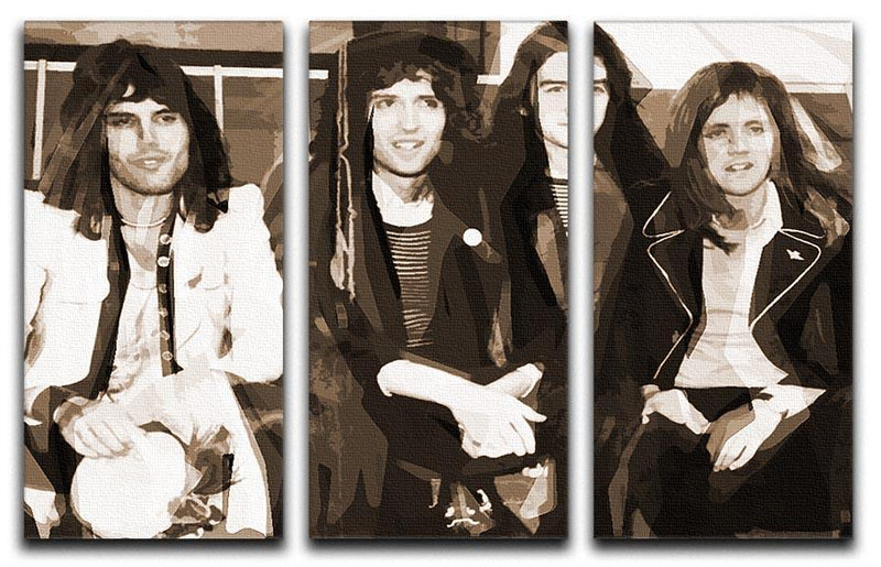 Queen Sepia Pop Art 3 Split Panel Canvas Print - Canvas Art Rocks - 1