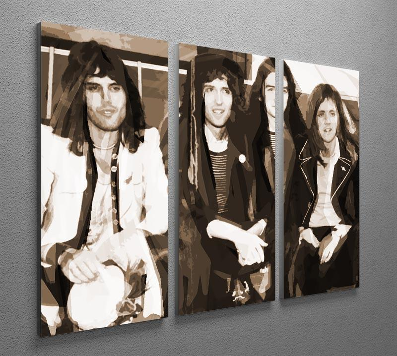 Queen Sepia Pop Art 3 Split Panel Canvas Print - Canvas Art Rocks - 2