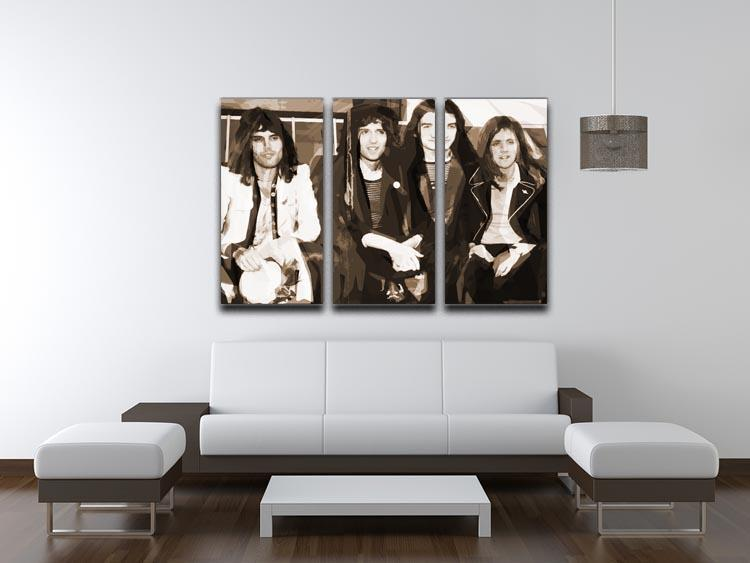 Queen Sepia Pop Art 3 Split Panel Canvas Print - Canvas Art Rocks - 3