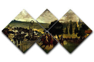 Race at Longchamp by Manet 4 Square Multi Panel Canvas  - Canvas Art Rocks - 1