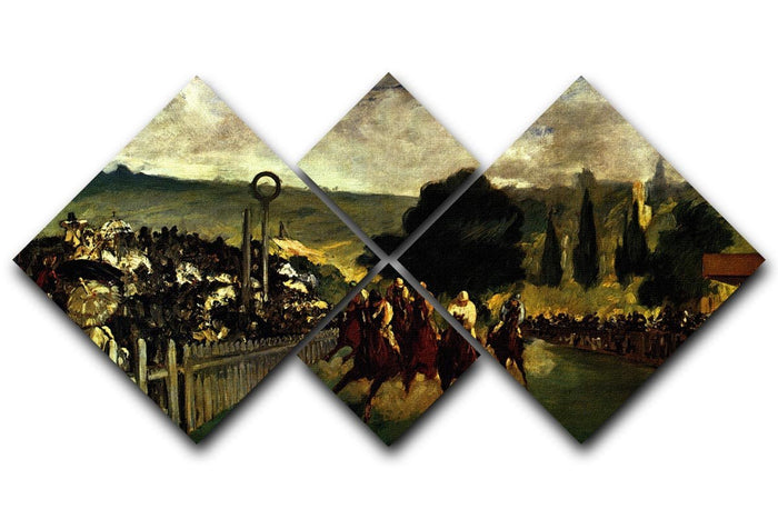 Race at Longchamp by Manet 4 Square Multi Panel Canvas