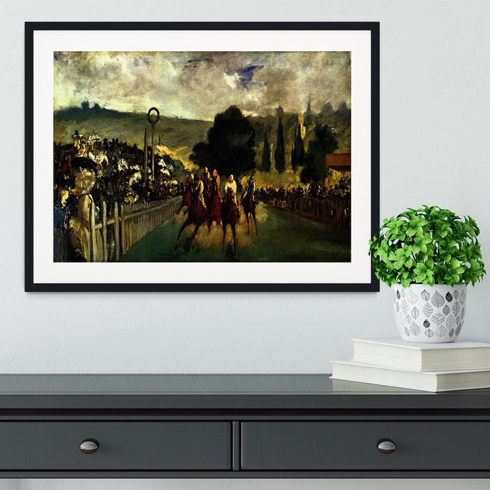 Race at Longchamp by Manet Framed Print