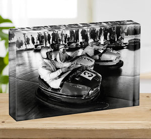 Racing drivers on the dodgems Acrylic Block - Canvas Art Rocks - 2