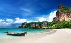 Railay beach in Krabi Thailand Wall Mural Wallpaper - Canvas Art Rocks - 1