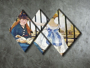 Railway by Manet 4 Square Multi Panel Canvas - Canvas Art Rocks - 2