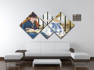 Railway by Manet 4 Square Multi Panel Canvas - Canvas Art Rocks - 3