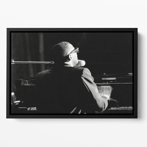 Ray Charles at the piano Floating Framed Canvas