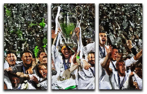 Real Madrid Champions League 2017 3 Split Panel Canvas Print - Canvas Art Rocks - 1